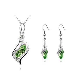 QiLeSen/925 Sterling Silver Necklace Earrings/Ladies Silver Green Jewelry Set/Wedding/ Engagement/Fine Jewelry S096 image