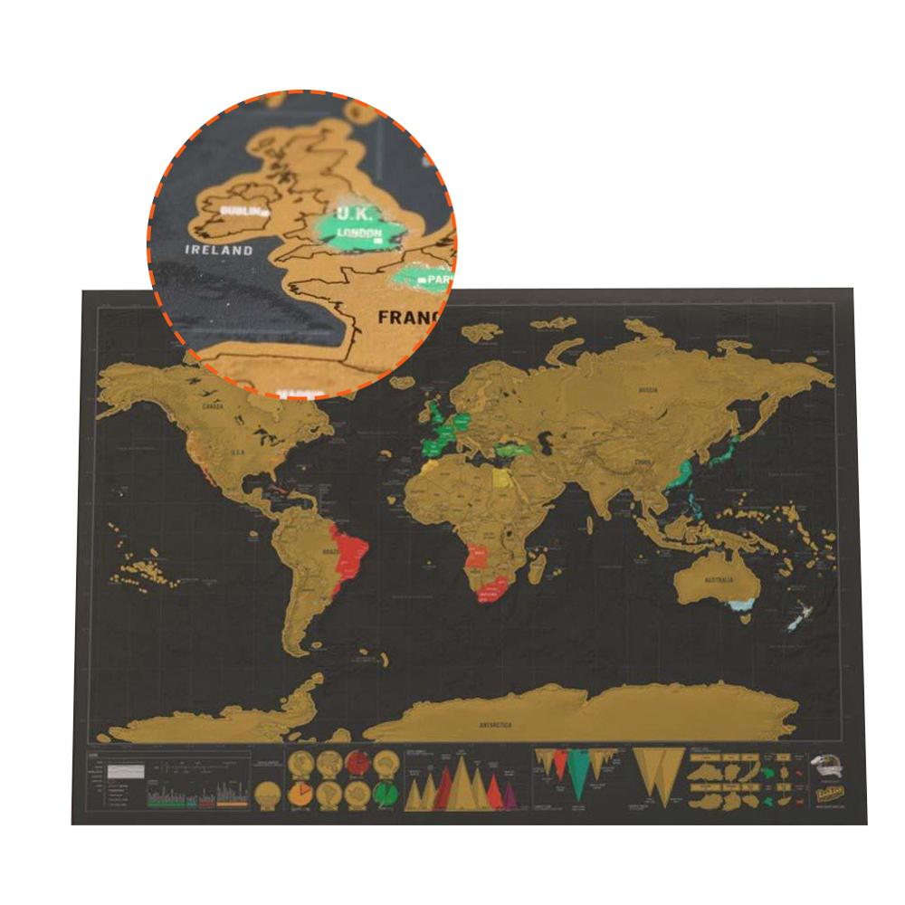 Deluxe Erase Black World Map 42x30cm Black Scratch Off Map World  Travel Scratch Wall Sticker Office Decoration