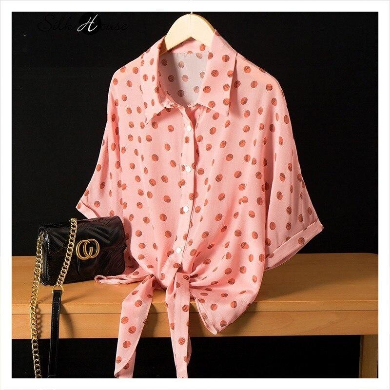 Рубашка с рукавом летучая мышь шелковая рубашка принтом в горошек