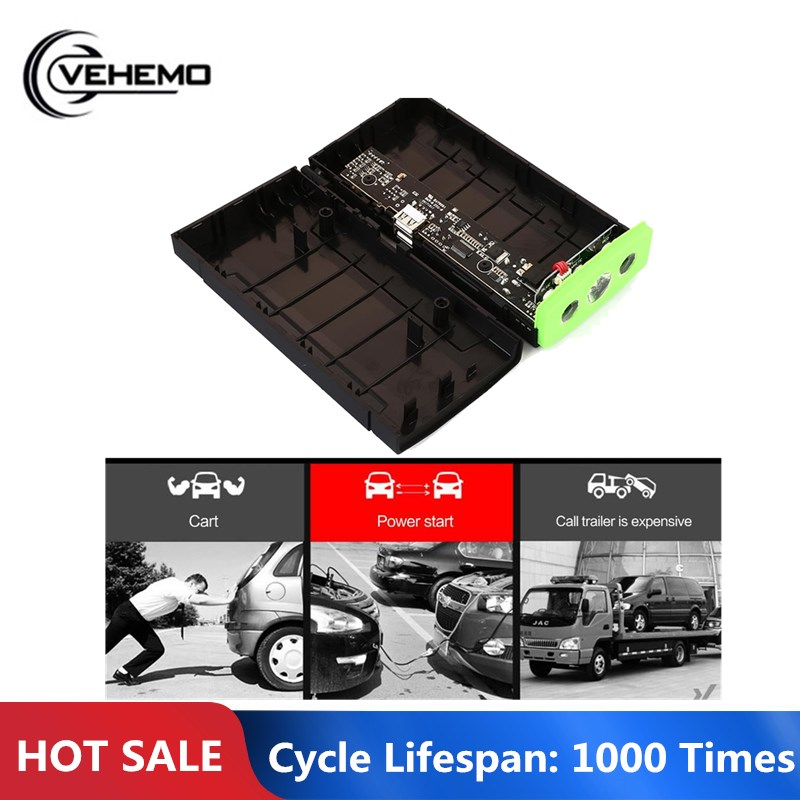 Vehemo 12V1A Dual USB Universal DIY Jump Starter Kit Charger Booster Power Bank Car Jump Starter Kit Motorcycle Power Kit