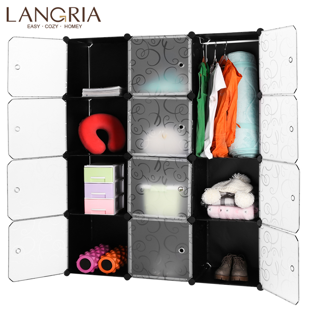 LANGRIA 12 Cube DIY Modern Closet Organizers Plastic Modular Mutilfunctional Storage Patterned Cabinet Bedroom Living Room