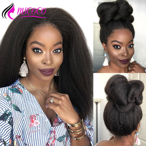 Mscoco Kinky Straight Wig Lace Front Human Hair Wigs Brazilian 360 Lace Frontal Wig 150 180 Density Italian Yaki Human Hair Wig(China)