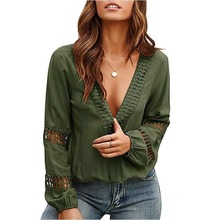 Casual Blouse Women Plus Size Solid Clothing 2020 Spring Summer Ladies Sexy V Ne