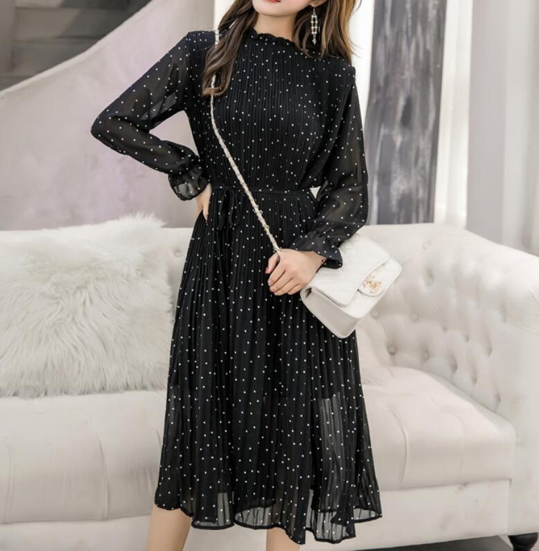 2019 Autumn Long Sleeves Polka Dots Black Dress Chiffon Pleated Midi Dress Elegant Dots Dress