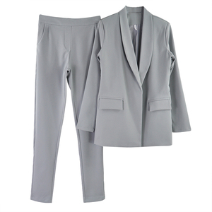 Image 4 - MVGIRLRU Womens Costume OL 2 Piece Sets Solid Color Blazer Jacket & Elastic Band Trousers Suit for Women Set Feminino Spring