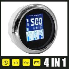 Цифровой тахометр 4 в 1, измеритель температуры воды и давления масла, из нержавеющей стали, диапазон 0-10 бар, с сигнализацией, многофункциона...