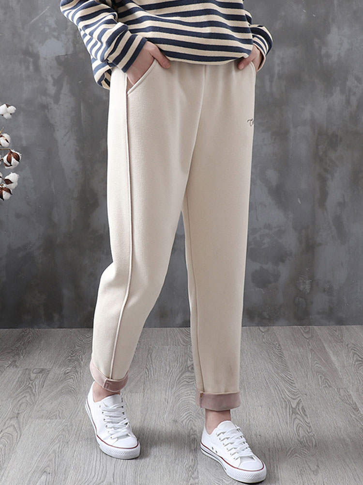Women Winter Pants Trousers Woolen Thicken Feleece Vintage Warm Autumn LYZCR for Velvet