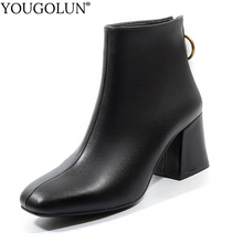 Soft Genuine Leather Ankle Boots Women Autumn Winter High Thick Heel Shoes A339 Fashion Style Woman Black Beige Square Toe Boots cocoafoal woman genuine leather chelsea boots fashion sexy 9 cm high heel shoes black patent leather autumn winter boots 2018