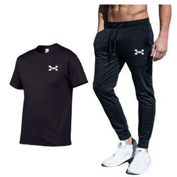 Men New Fashion Two Pieces Sets T Shirts+pants Suit Men Summer  Fashion Brand Print Tshirt High Quality Sportswears 2 Sets