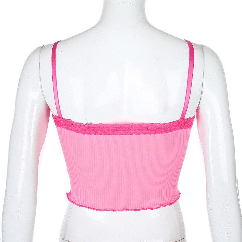 ALLNeon Y2K E girl Hot Pink Cross Lace Camis Tops Sweet Chic Spaghetti Strap Ruffles Hem