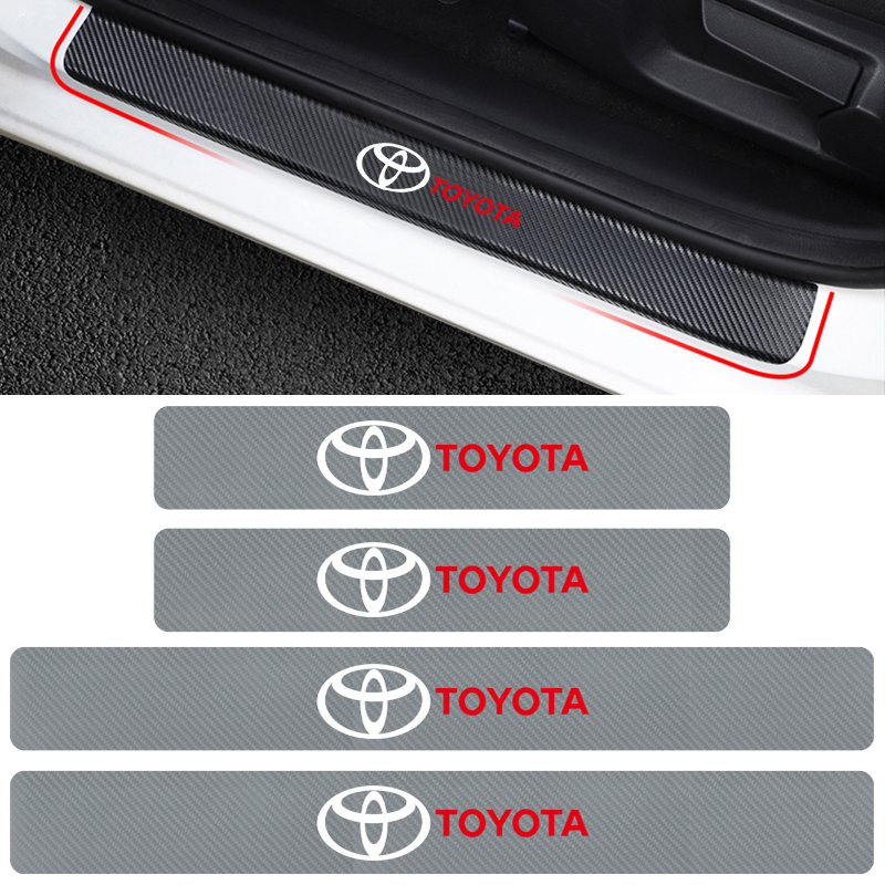 Car-Styling 4PCS Car Door Threshold Carbon Fiber Scuff Plate Stickers For Toyota Camry Chr Corolla Rav4 Yaris Prius Accessories