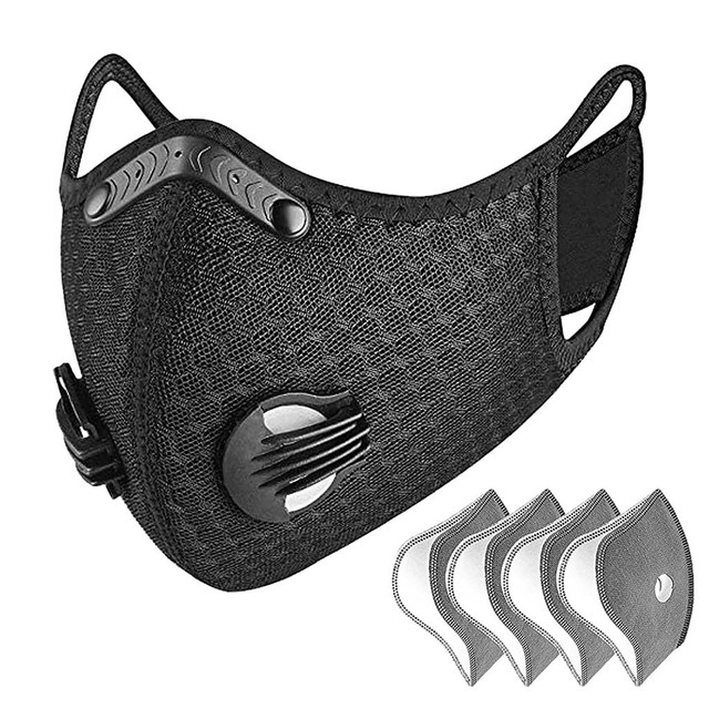 Valve Face Mask With 4 Filters Vent Breathable Respirator Fashion Mouth Cover Masque Bike Outdoor Reusable Protection Mascarilla 1