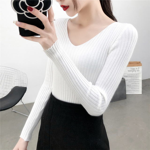 Women Casual Slim V-Neck Bottoming Sweaters Knitting Rendering Unlined Upper Long Sleeve Solid Color Pullover Sweaters for Women
