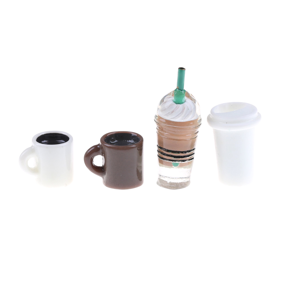 4Pcs/set Mini World Kitchen Room Food Drink Cup Miniature For Barbie DIY Doll house Coffee Cup girl best gift