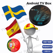 Caixa da tevê do andróide para a tevê espanha netherland portugal polónia conjunto tevê caixa superior 2 gb 16 gb media player 2.4g 5 ghz wifi smart hk1 caixa de tevê máxima(China)