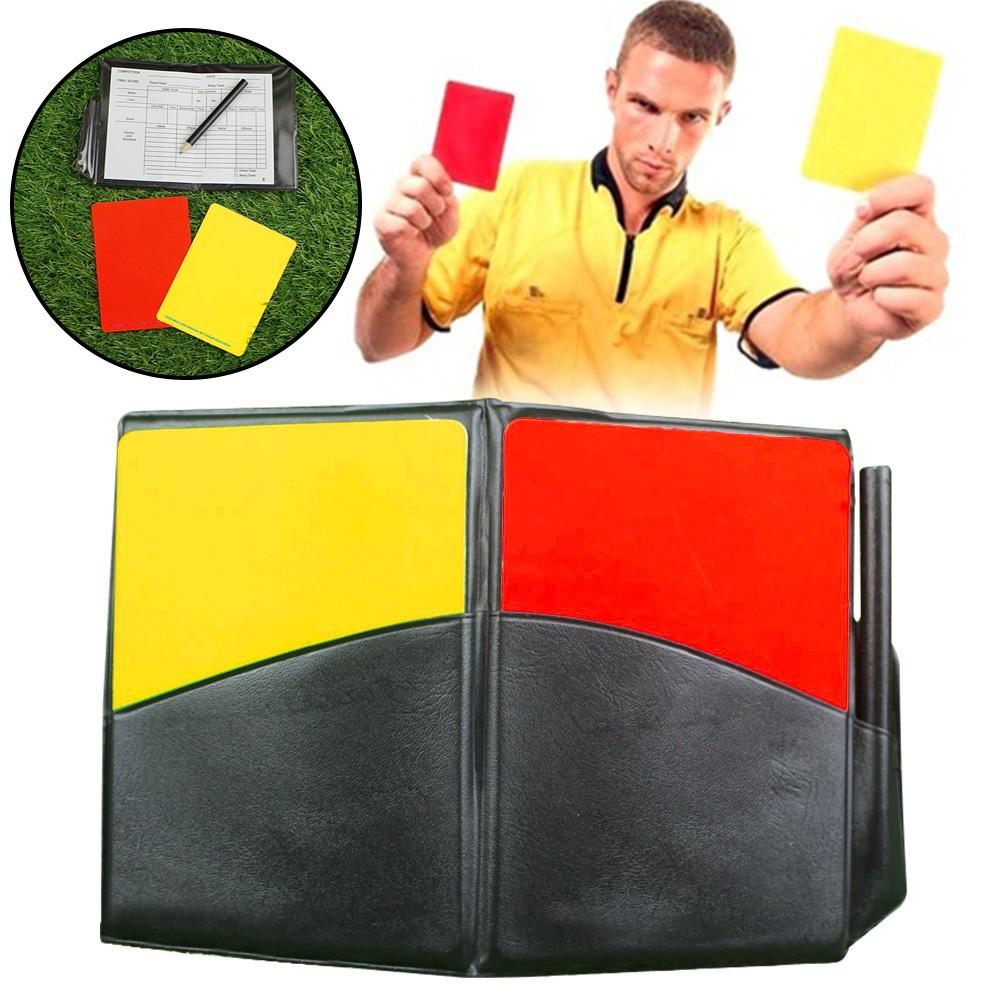Fluorescent Red Yellow Card With Leather Wallet Pencil Recording Paper Soccer Referee Recording Red Yellow Cards /FFY/