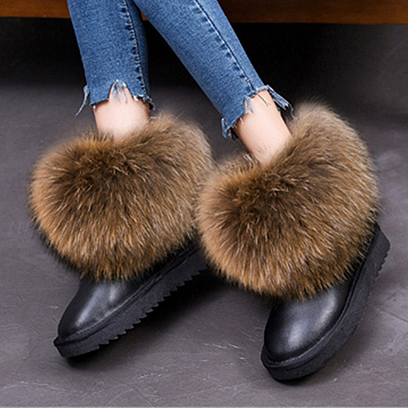 G&Zaco Women's Winter Boots Genuine Leather Natural Real Fox Fur Snow Boots Short Ankle Boots Fur Boots Female Flat Heel Shoes