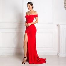 Red Maxi Dress Split Front Off The Shoulder Bodycon Floor Length Dress Elegant Classic Trumpet Mermaid Dress недорого