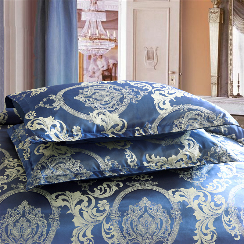 European Style Satin Jacquard Bedding Set Quilt Cover Pillow Case