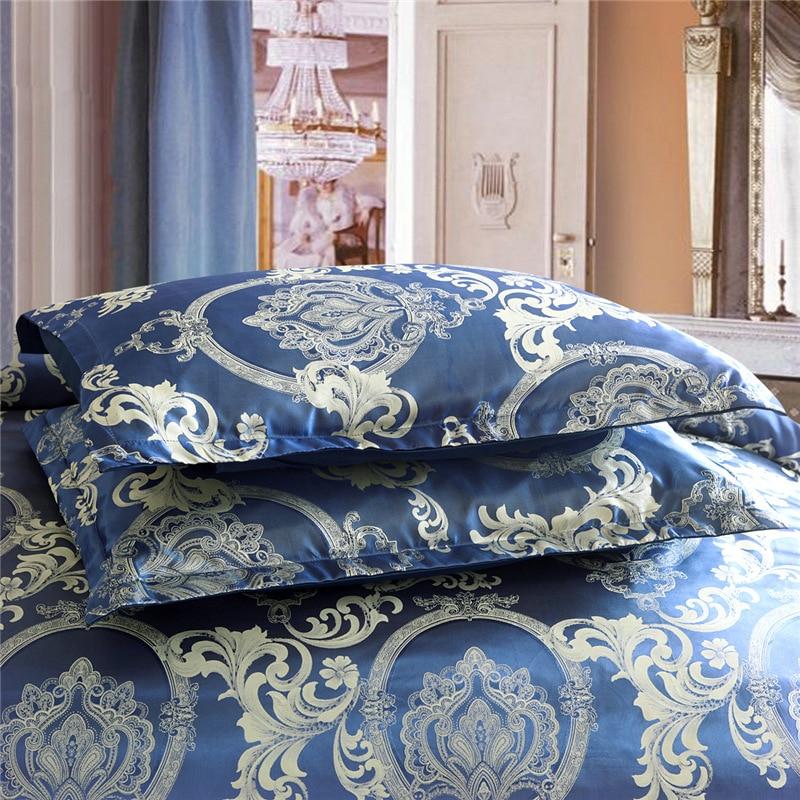 European Style Satin Jacquard Bedding Set Quilt Cover Pillow Case
