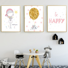 Baby Girl Nursery Cartoon Painting Pink Wall Art Minimalist Poster And Ptints Nordic Poster Kids Decoration Baby Room Unframed цена