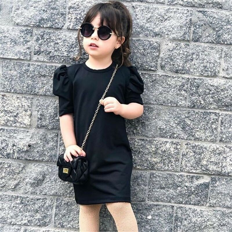 Kids Girls Knitted Dress Puff Sleeve Solid Casual A-line Dress Toddler Kids Party Dress