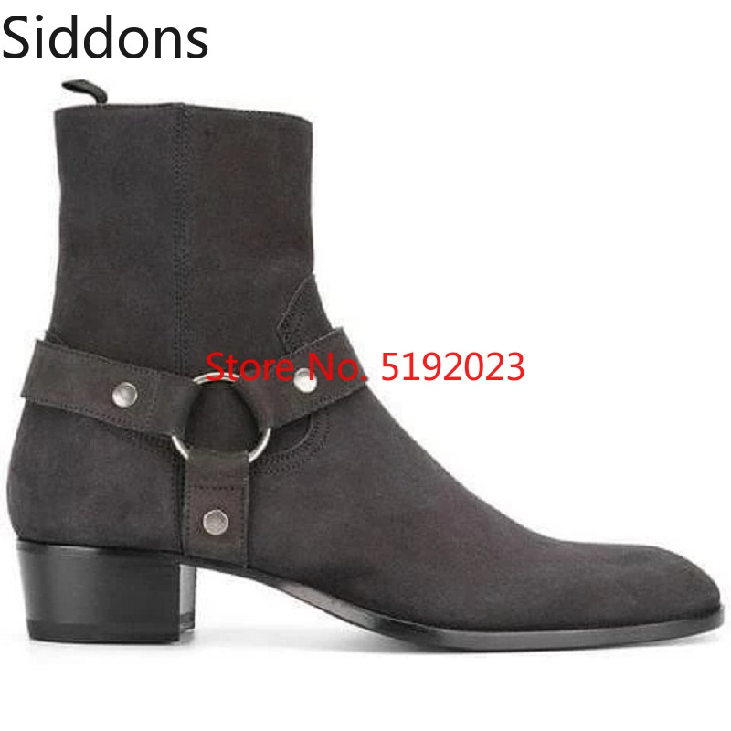 Winter Fashion Ankle Top Quality Leather Suede Tie Decoration Hendrix Harness Boots Male Casual Zapatos De Hombre D160