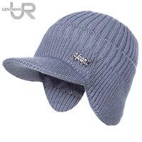 Heißer Verkauf Unisex Stilvolle Hinzufügen Pelz Gefüttert Warm Winter Hüte Mit Krempe Weichen Mütze Kappe Für Männer Frauen Klassische Hut mit Ohr Gestrickte Hut