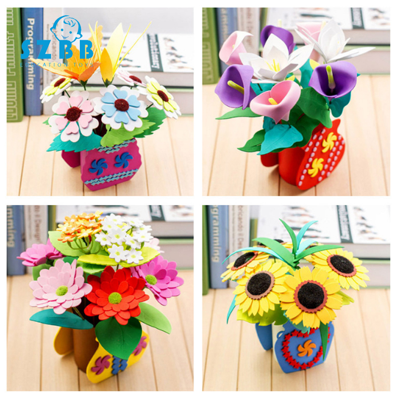 Sz Steam Creative 3D Handmade EVA Flower Pot Toy Kids DIY Craft Kits Creative Kindergarten Educational Children Girls DIY Craft