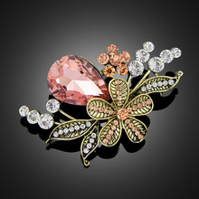 New Wholesale Brooch Corsage Female Korea Fashion Retro Rhinestone Handmade Rose Flower Jewelry