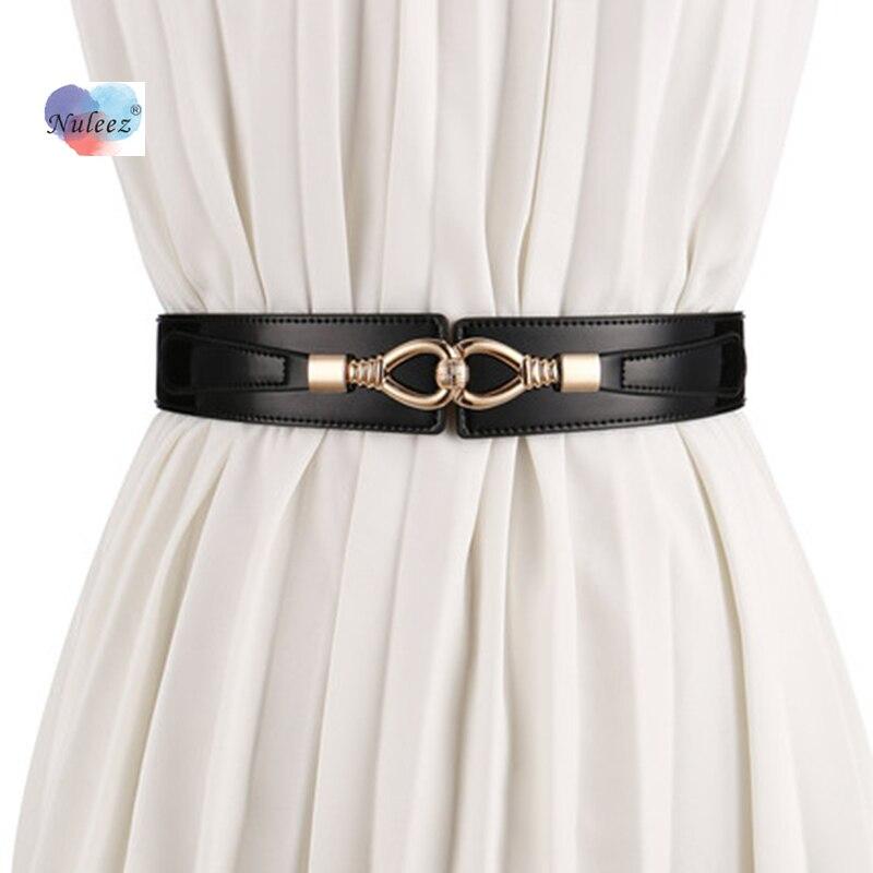 Nuleez Dress Belt Women Cummerbunds Split Leather Fashion Accessory For Girls Shinning Waxy Leather