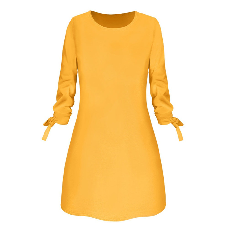 Summer Hot Sales Polyester Long Sleeve Women Dress Round Collar Lace-Up Pure Color Casual Dress