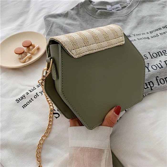 H2d25fc4239754fafa07f93e0d7a3f6d9G - Handbag Women Summer Rattan Bag Hexagon Mulit Style Straw+leather Handmade Woven Beach Circle Bohemia Shoulder Bag New Fashion