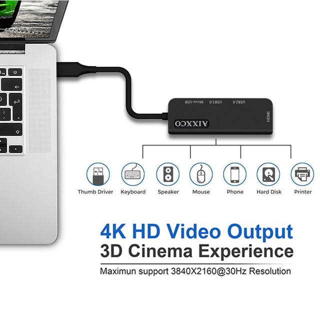 AIXXCO USB C HUB USB-C a 3.0 HUB HDMI Thunderbolt 3 Adattatore per MacBook Samsung Galaxy S9 Huawei P20 Compagno 20 Pro di Tipo C HUB USB 2