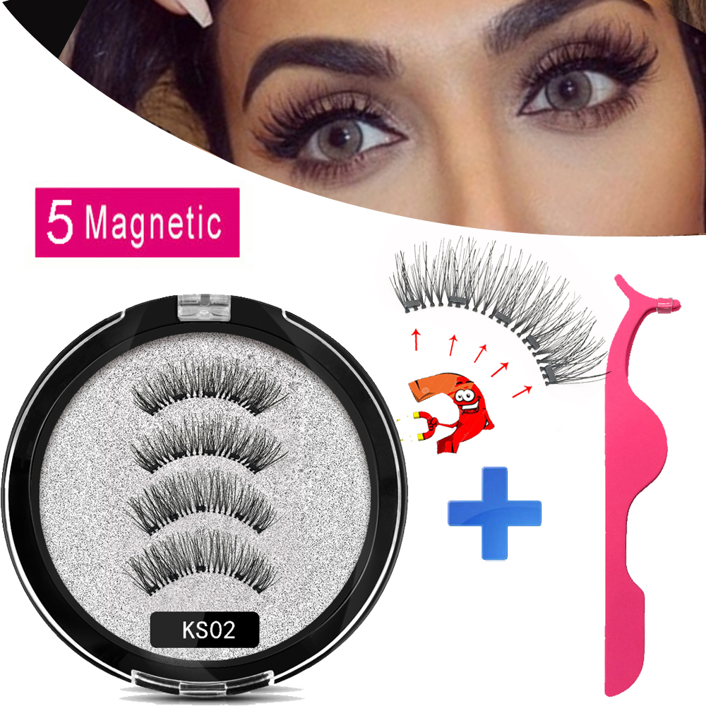 MB New 5 Magnets Magnetic Eyelashes False Eyelashes Handmade Eye Lashes Makeup Mink Eyelash Extension 3D Natural Long Faux Cils