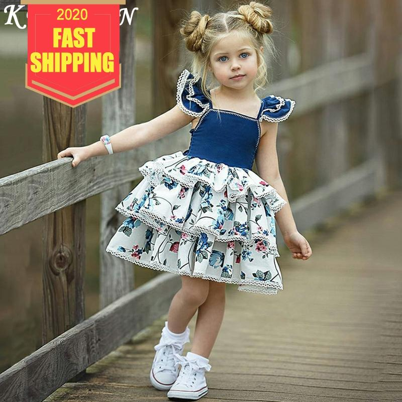 Keelorn Girl Dresses Fashion Girls Print Dress Ins Explosion Baby Vest Dress Small Flying Sleeves Lace Princess Cute Cake Dress