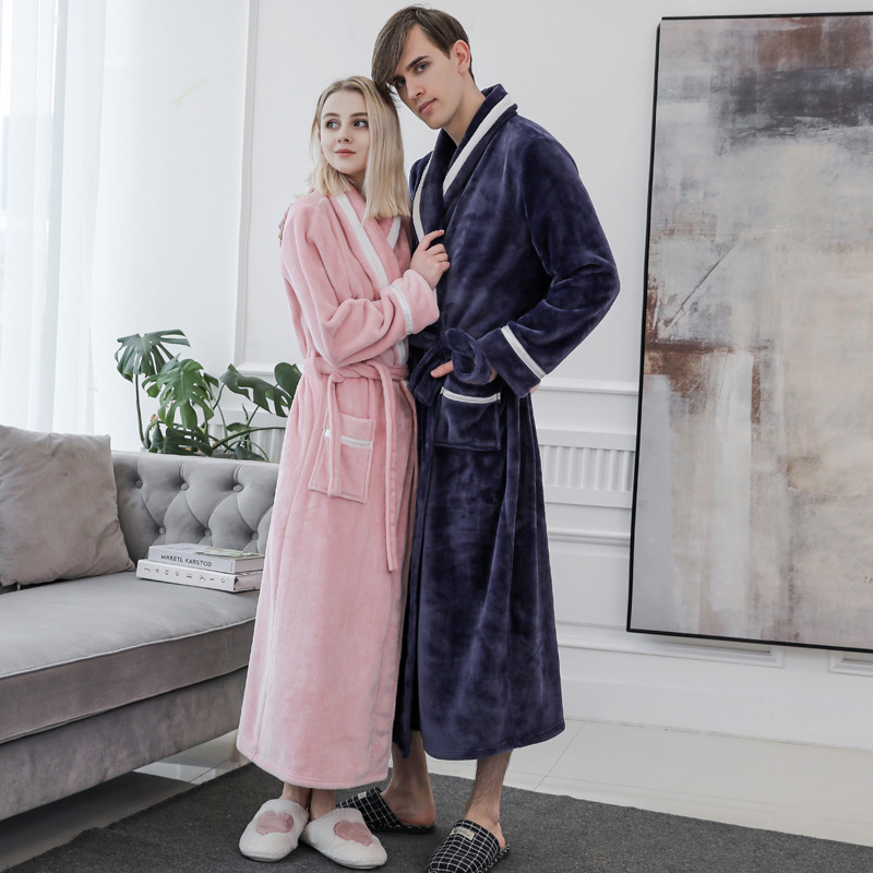 Lounge Long Women Sleepwear Winter Soft Bathrobe Hone Ckothing Thick Coral Fleece Nightgown Flannel Sexy Belt Pyjamas Negligee