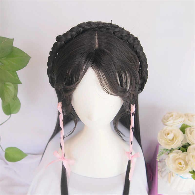 Weilai Wig untuk Wanita Vintage Wig Cina Kuno Wig Ekor Kuda Panjang Lurus Rambut Hitam Air Poni Pemodelan Wig Produk Kustom