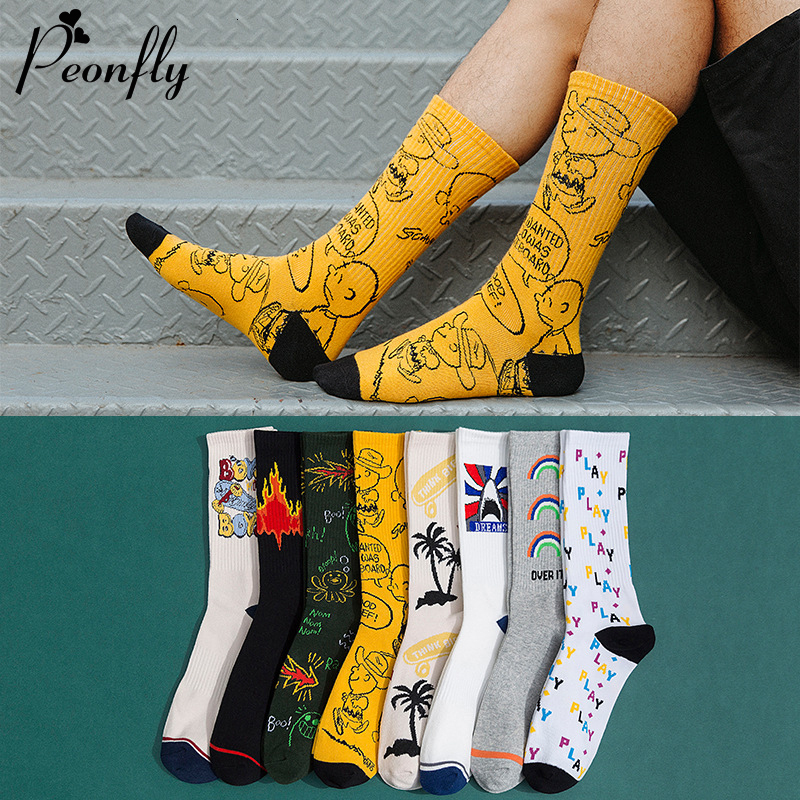 PEONFLY Novelty 2019 Autumn Winter Socks Men Harajuku Combed Cotton Happy Socks Funny Illustration Calcetines Largos Hombre