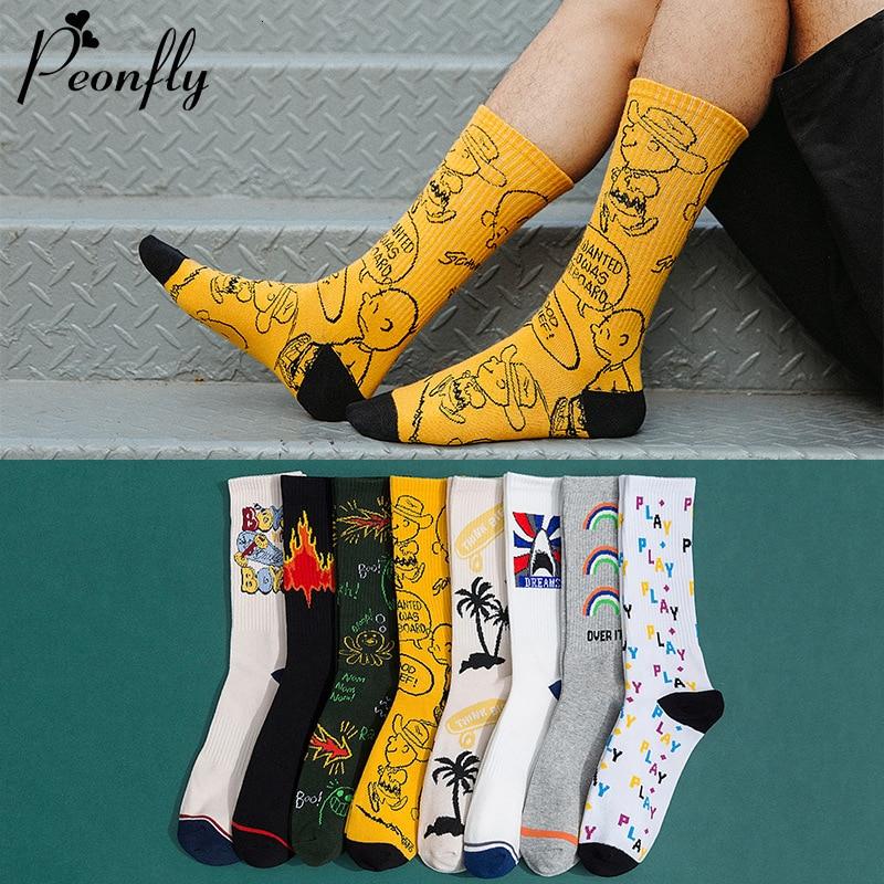 PEONFLY Novelty 2019 Autumn Winter Socks Men Harajuku Combed Cotton Happy Socks Funny Illustration Calcetines Largos Hombre
