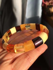 Image 1 - Natural Red Amber Yellow Piebald Amber Bracelet 14x13mm Mixed Bead Women Healing Rectangle Beads Bangle Certificate AAAAA