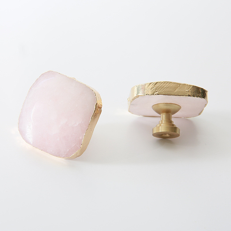 Ev Dekorasyonu'ten Dolap Çekerleri'de Katı pirinç kristal kolları Dresser çekmece kolları çeker mobilya dolap kolu çekin donanım pembe dolap çekme Hanldles title=