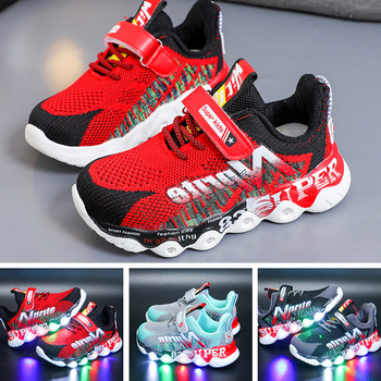 Child Sport Shoes Spring Luminous Fashion Breathable Kids Boys Net Shoes Girls Anti-Slippery Sneakers With Light Running Shoes maultby men s saga td badminton shoes training breathable anti slippery light sport badminton shoes