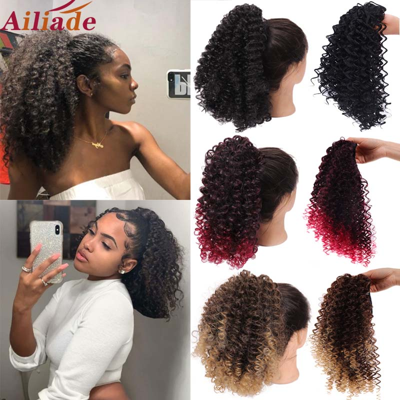 AILIADE Like Afro Kinky Curly Human Hair Ponytail Clips In For Women Bun Drawstring Ponytail Hair Extension Natural Black