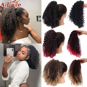 AILIADE Like Afro Kinky Curly Human Hair Ponytail Clips in for Women Bun Drawstring Extension Natural Black - discount item  46% OFF Synthetic Hair