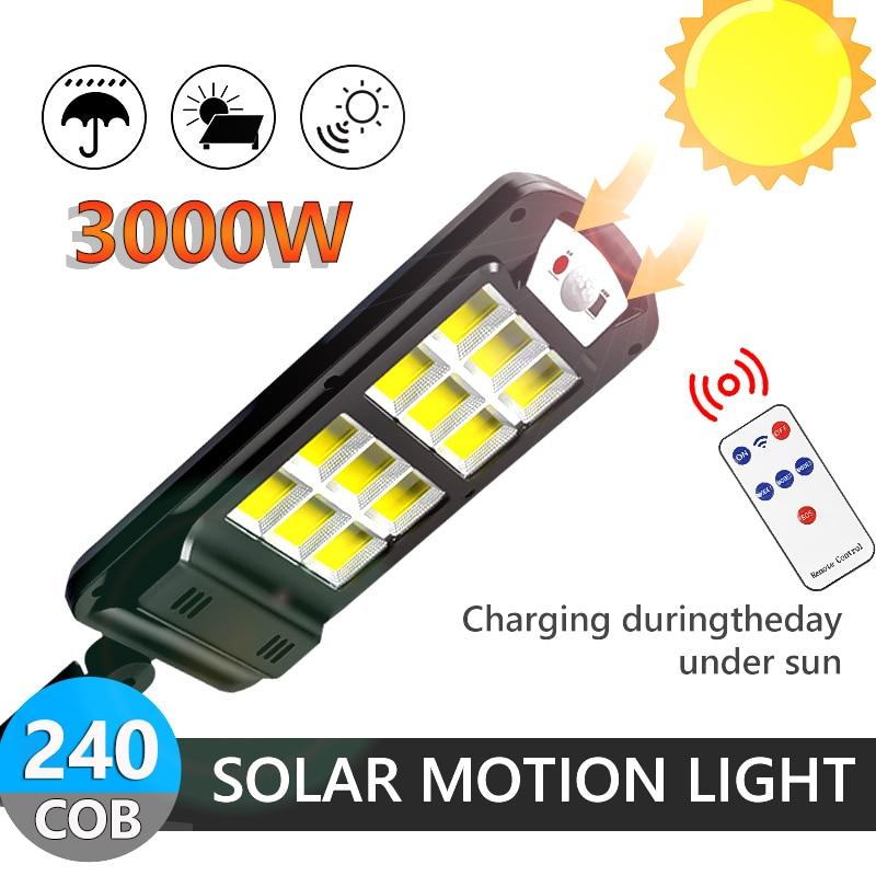3000w poderoso 240cob solar led luz ao ar livre com controle remoto à prova dwireless água sem fio sensor pir movimento rua jardim lâmpada solar