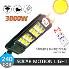 3000W Powerful 240COB Solar LED Light Outdoor With Remote Control Waterproof Wireless Sensor PIR Motion Street Garden Solar Lamp