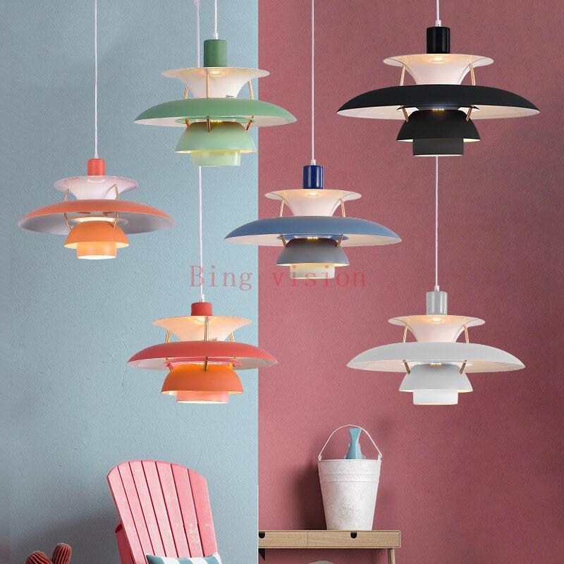 Haute qualité E27 suspension colorée parapluie Led suspension lampe salle à manger pendentif Led lampe Led lampara luminaires - 2