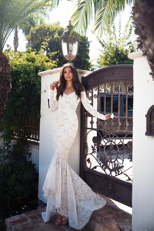 Linglewei New Spring and Summer Women's Dress Popular Cape long sleeve dress slim lace fishtail dress long dress