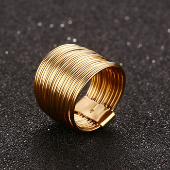 15mm Wrap Ring Feminine Women Spring Ring Gold Color Interlocked Stacking Big Round Hyperbole Jewelry